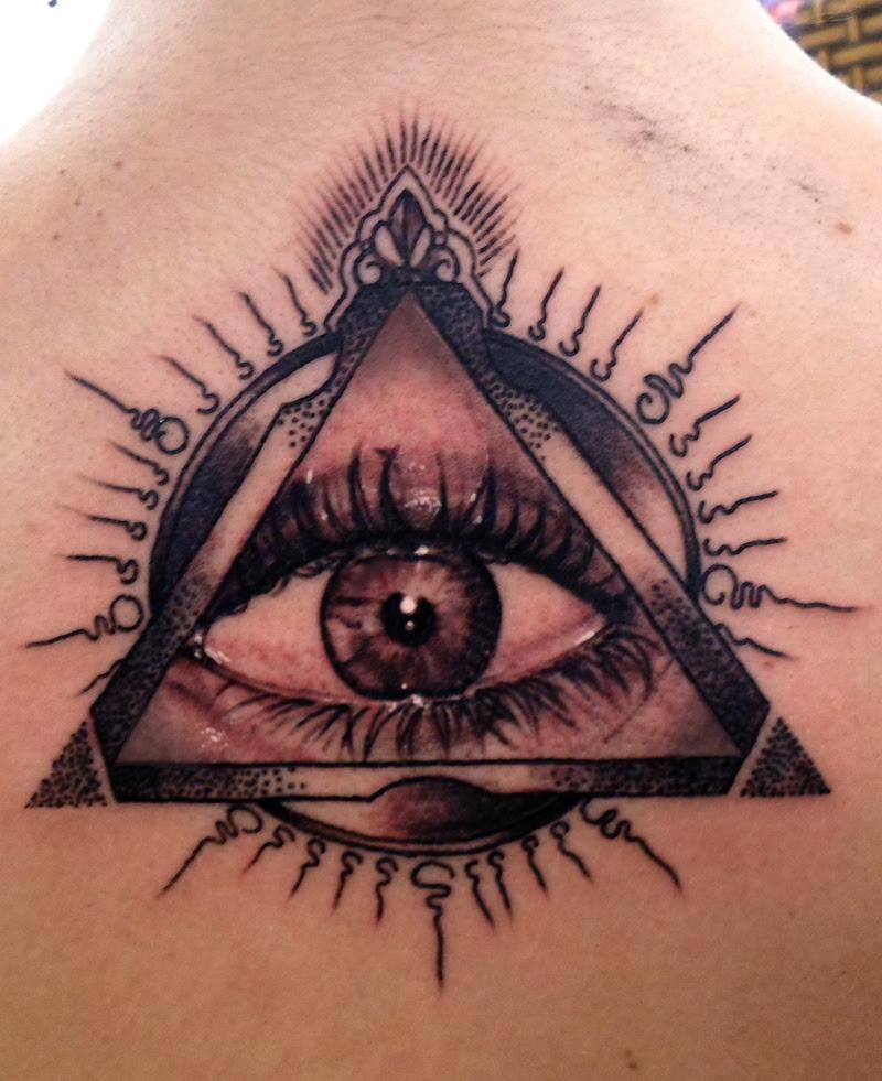 Dark Ink Illuminati Eye Tattoo On Back