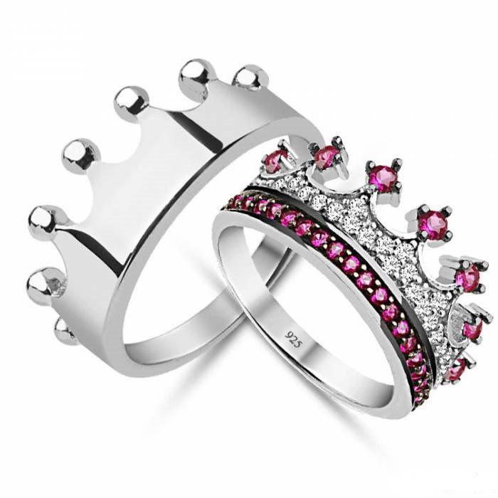 King Queencrown Ringcrown Ring Setgold Crown Ring925k Silver