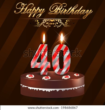 40 year Happy Birthday Card with cake and candles, 40th ...