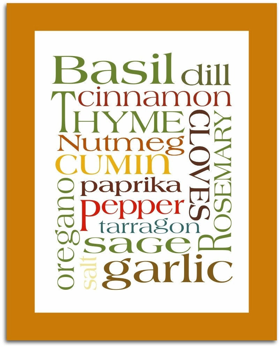 Art Poster Subway Kitchen Herbs & Spices Print 8x10