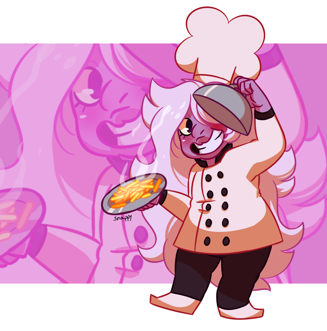 Super disappointed Amethyst didn't have a little chef outfit to go along with her hat ! So I made her one !