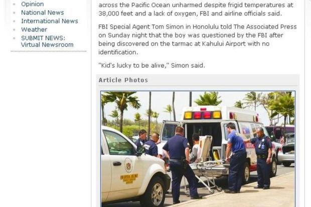 Adolescente sobrevive após viagem de cinco horas até o Havaí em trem de pouso de avião Reprodução/Reprodução