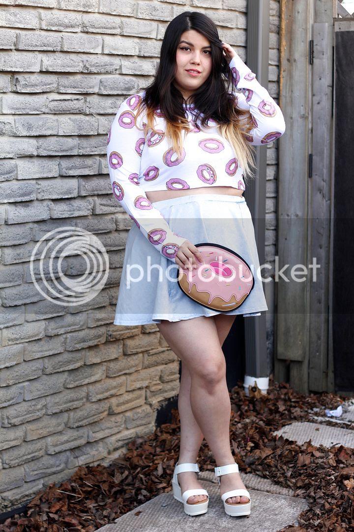 plus size fashion donuts donut drop dead crop top donut clutch plus size blogger canada fat fashion plus size denim skirt plus size crop sweater