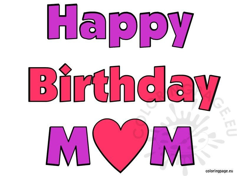 Happy Birthday Mom image free - Coloring Page