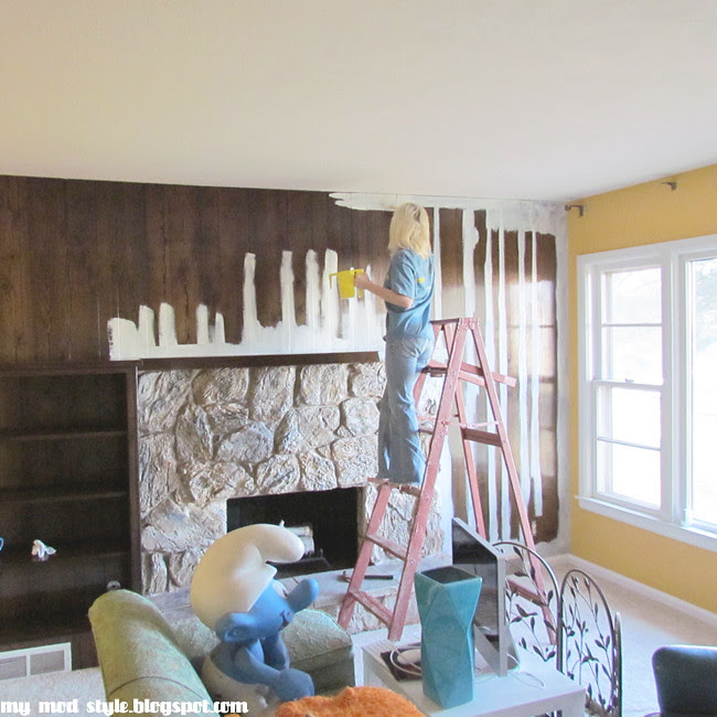 Living Room Painting the Paneling1