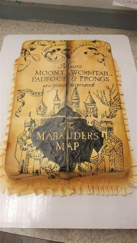 Shaped Marauder's Map Harry Potter Hogwarts cake   Book