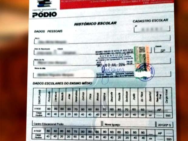 Diploma falso emitido por curso no Rio de Janeiro tinha notas e autenticação (Foto: Reprodução / EPTV)