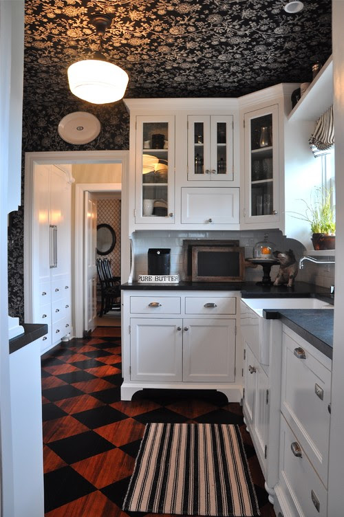 A Black And White Cottage Kitchen