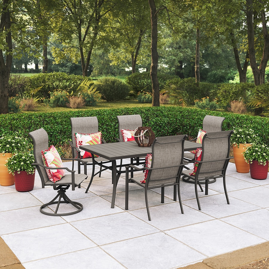 Style Selections 7 Piece Brown Frame Patio Set With Tan In The Patio Dining Sets Department At Lowes Com