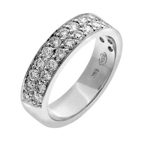 two row pave set wedding bands   Fine Jewelry Manufacturer