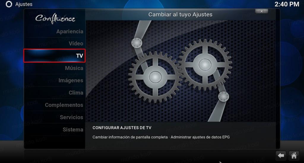 Lista PVR TecnoTV. Menu TV