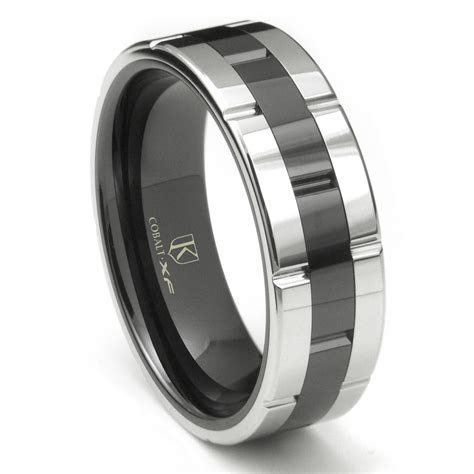 Cobalt XF Chrome 8MM Two Tone High Polish Wedding Band Ring