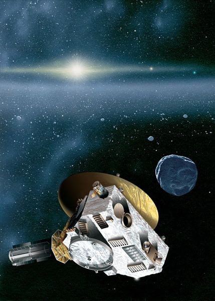 An artist's concept of NASA's New Horizons spacecraft flying past a Kuiper Belt Object (KBO) in the outer solar system.
