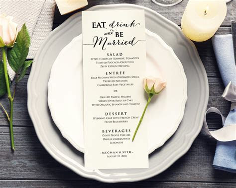 Eat Drink And Be Married Menu · Wedding Templates and