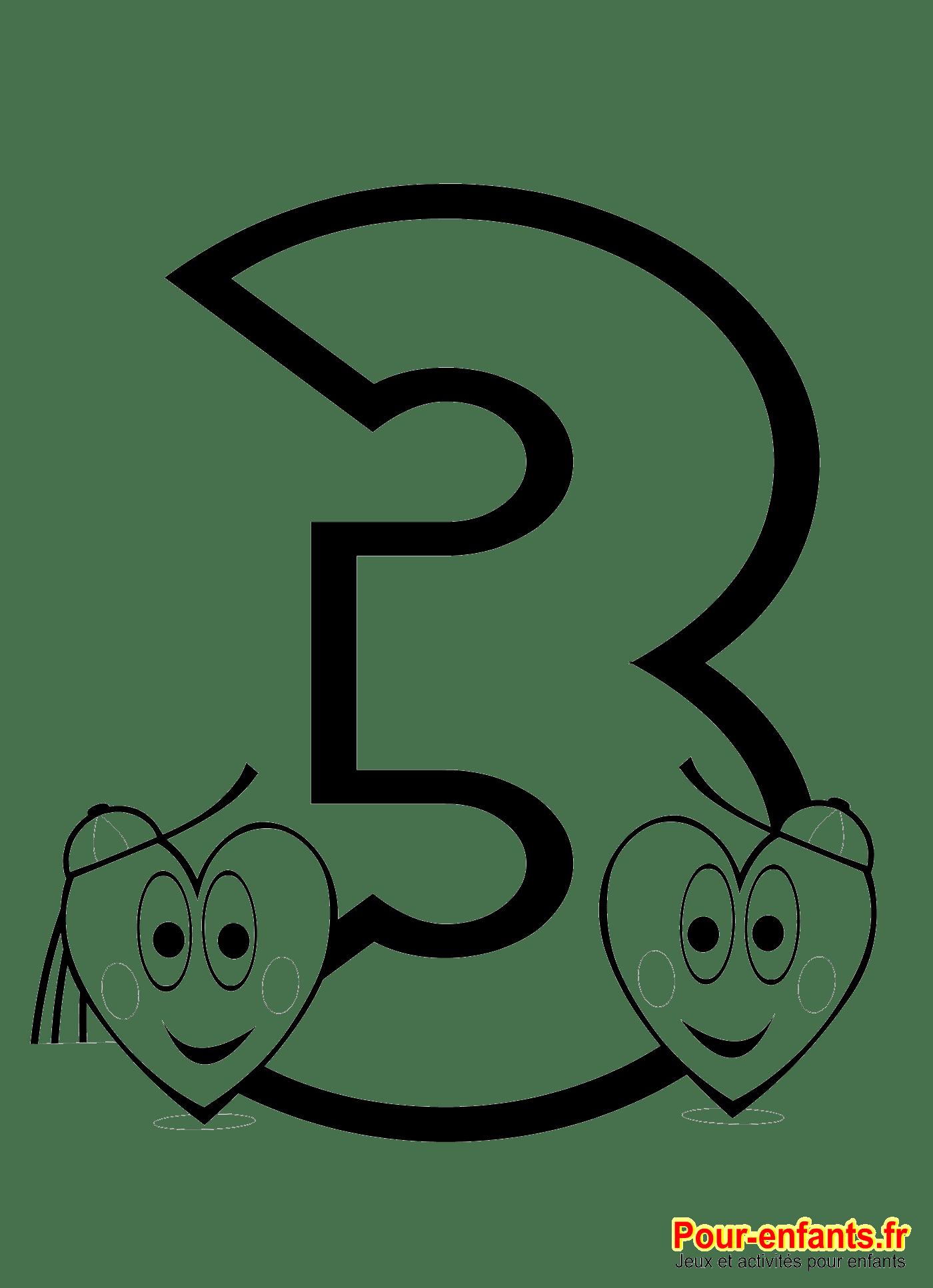 Chiffre 3  imprimer pour faire du coloriage et des activités de numération pour enfants pter