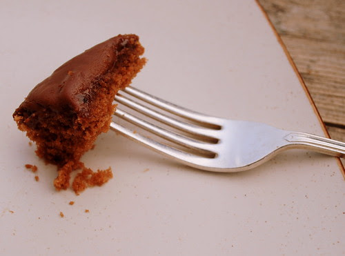 Chocolate Sheet Cake fork