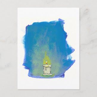 We Light a Candle & Give Thanks inspirational art postcard