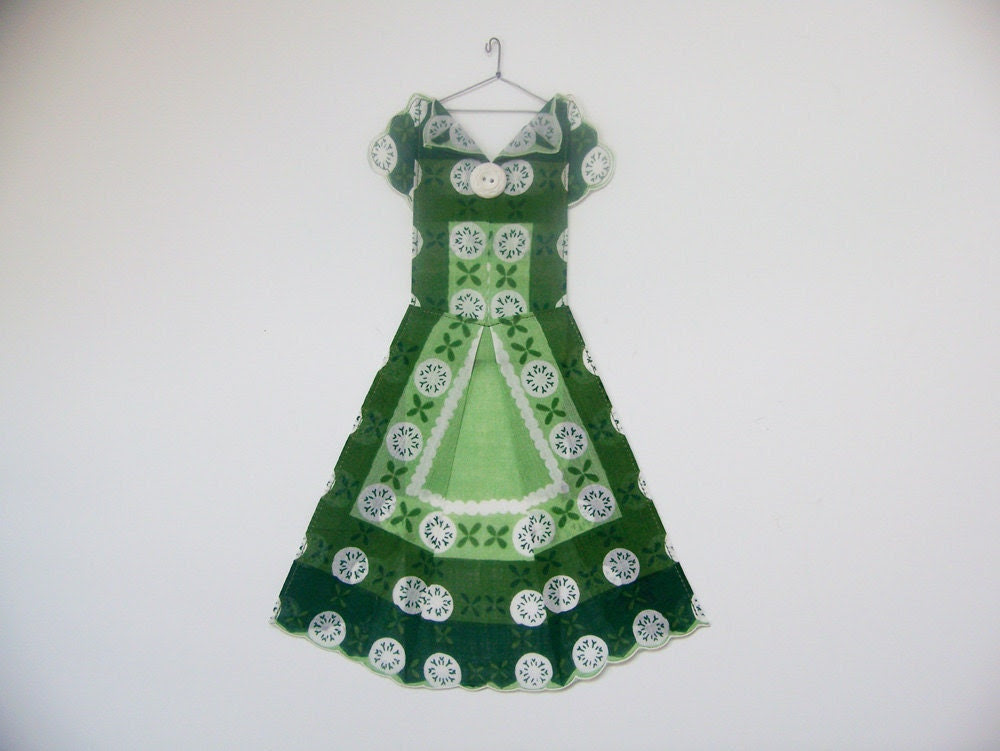 Vintage Hanky Dress - Green Polka Dot Motif - HankyDresses