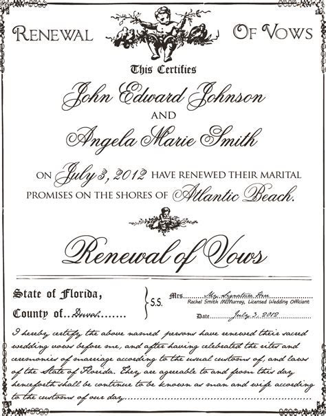 Vow Renewal Certificates   Best Beach Wedding Guides for