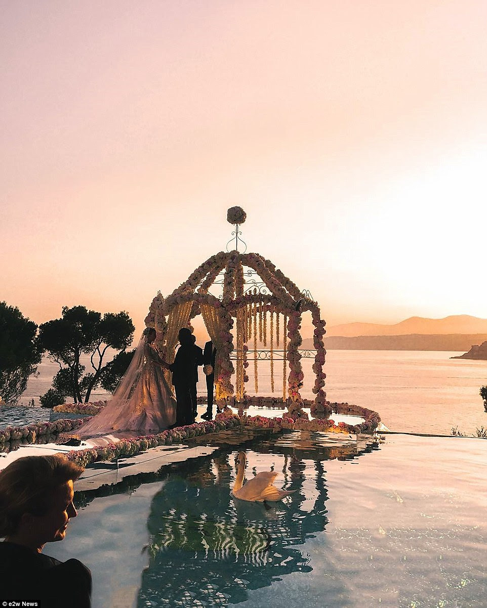 The gorgeous sunset over the French Riviera as the couple wed outside the villa used for the expensive wedding