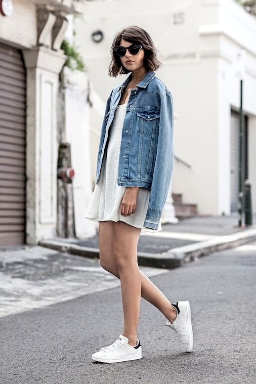 Le Fashion Blog Blogger Style Casual Cool Black Oversized Sunglasses Light Wash Jean Jacket Short White Slip Dress Adidas Stan Smith Sneakers Via Badlands