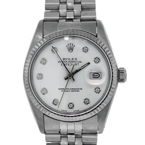 Rolex 16014 Datejust Watch white diamond dial stainless steel