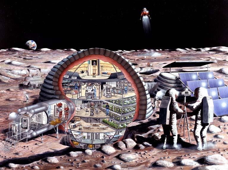 astronautas en una base en la luna
