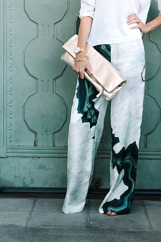 Le Fashion Blog Blogger Style Easy Breezy 3.1 Phillip Lim Geode Wide Leg Pants Clare V. Metallic Gold Clutch Bag Round Gold Watch Gold Bracelets Ornate Green Door Photo Backdrop Via Smitten Studio photo Le-Fashion-Blog-Blogger-Style-Easy-Breezy-31-Phillip-Lim-Geode-Wide-Leg-Pants-Via-Smitten-Studio-1.jpg