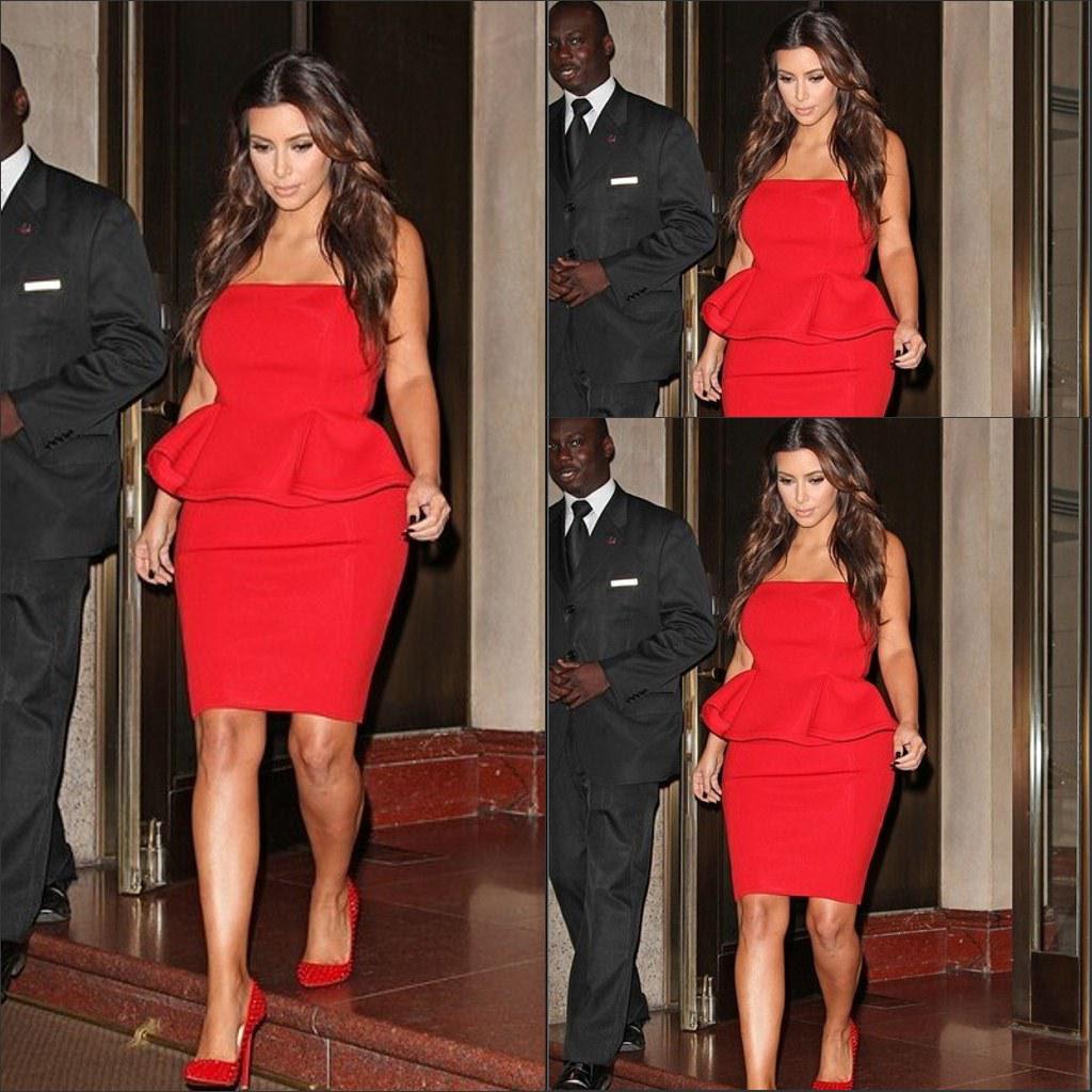 Red peplum evening dress