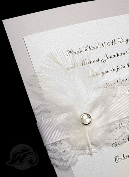 New Couture Wedding Invitations with Marabou Feathers and