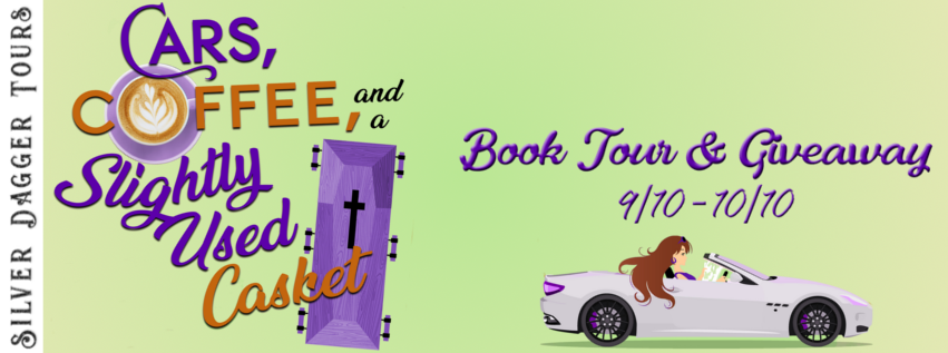 Book Tour Banner for satire novel Cars, Coffee and a Slightly Used Casket from the Julia Karr series by K.C. Hilton with a Book Tour Giveaway