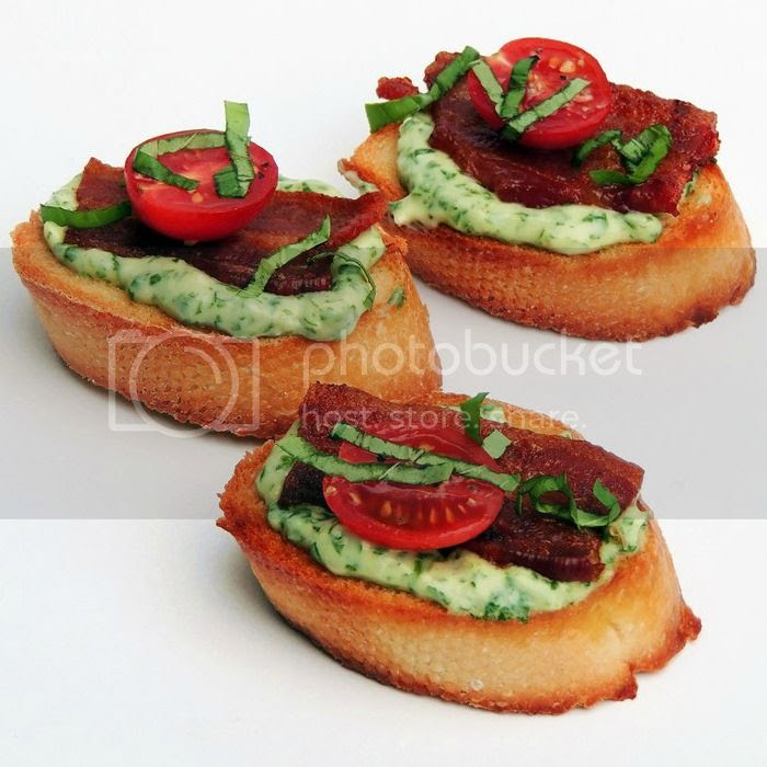 BLT Crostini with Basil Mayonnaise