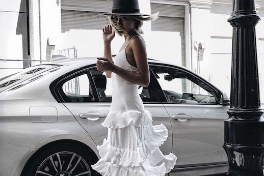 Le Fashion Blog White Pleated Midi Dress Black Hat Via The Grey Layers