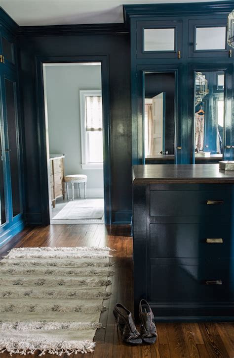 peacock blue cabinets transitional closet farrow