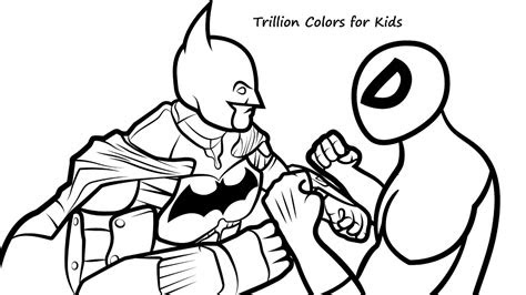 draw batman  spiderman coloring pages coloring
