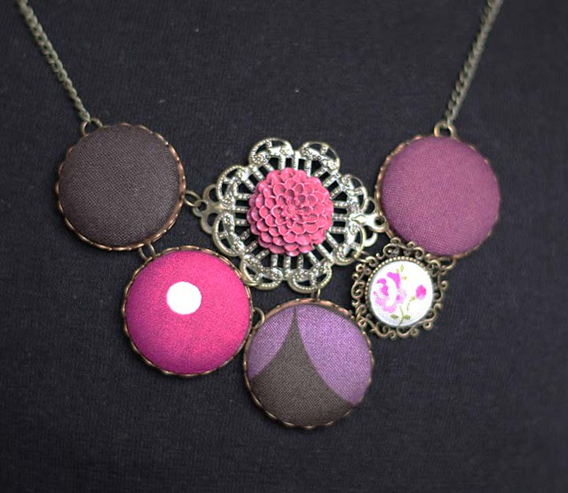 metal button necklace