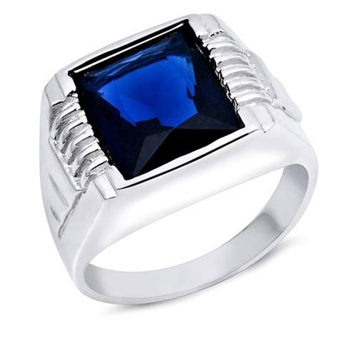 Men's Square Blue Sapphire .925 Sterling Silver Ring Sizes