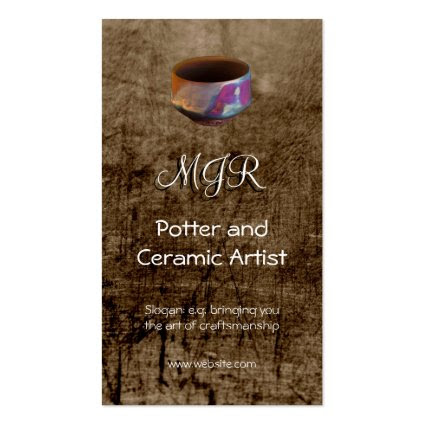 Monogram, Potter, Ceramic Artist, leather-effect Double-Sided Standard Business Cards (Pack Of 100)