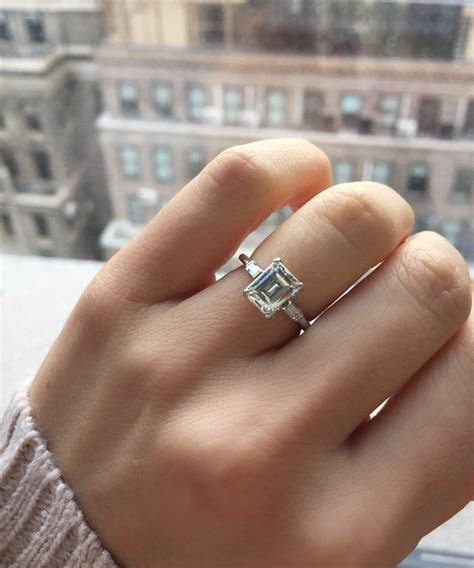 Perfect Emerald cut diamond engagement ring in a platinum