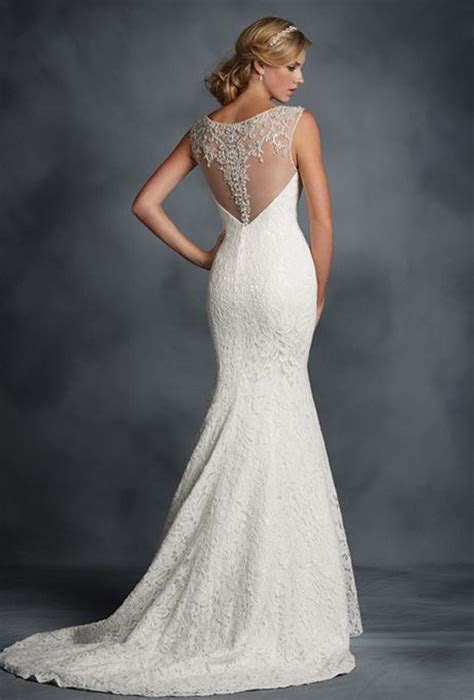 Brides: Alfred Angelo. All over lace fit and flare gown