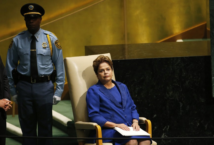 A presidente na Assembleia Geral da ONU. Dilma causou polêmica ao defender, em seu discurso, o diálogo com os decapitadores muçulmanos.