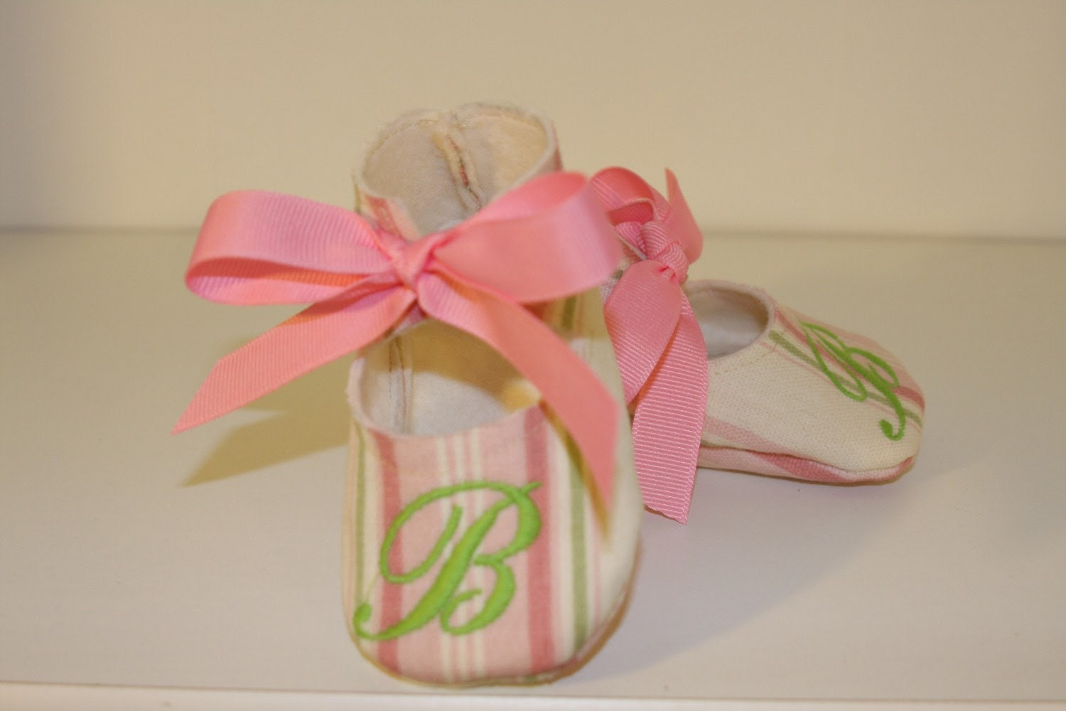 Monogrammed pink/green striped baby bootie
