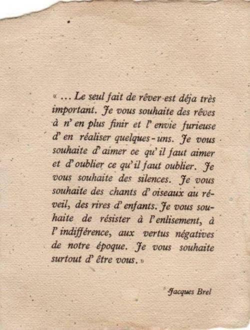 Un petit mot de Jacques Brel… merci Céline Spreux