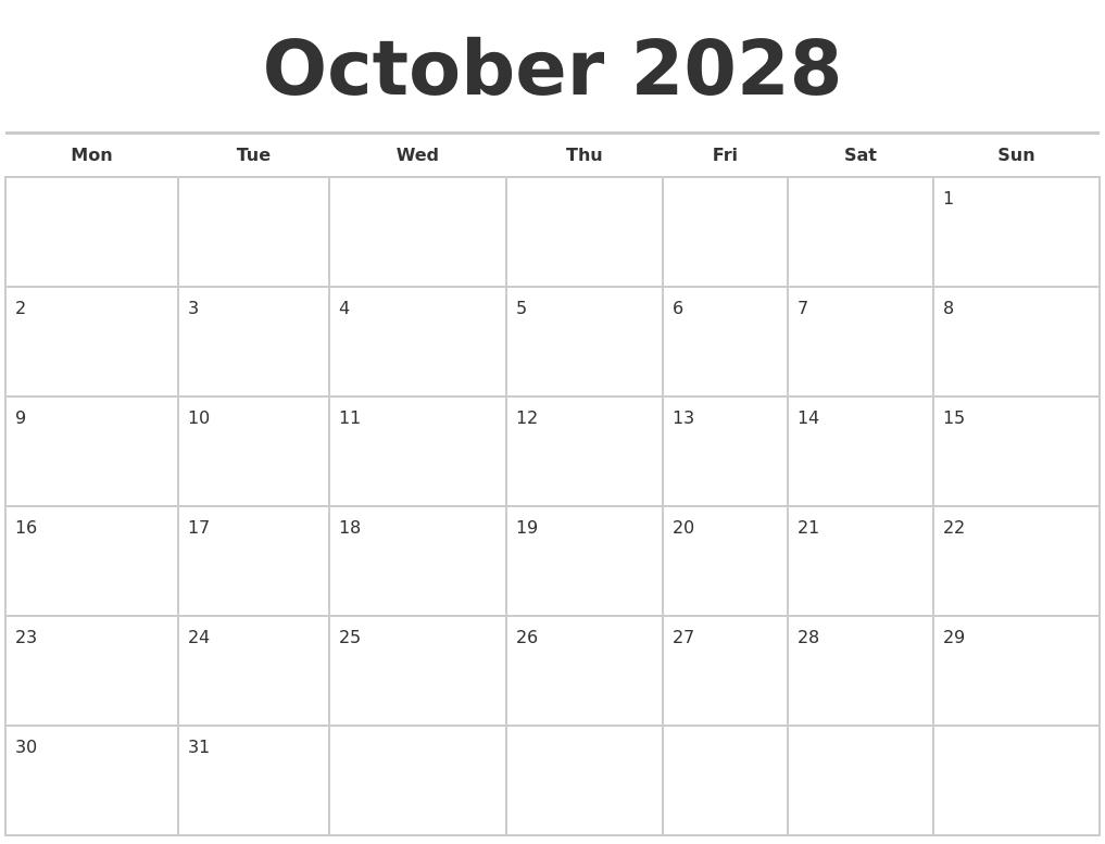 october 2028 calendars free monday start