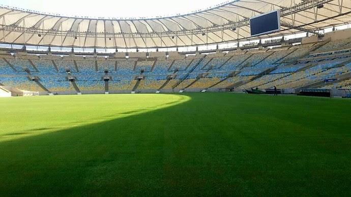 Gramado do Maracanã está pronto para jogo de domingo (Foto: Divulgação)