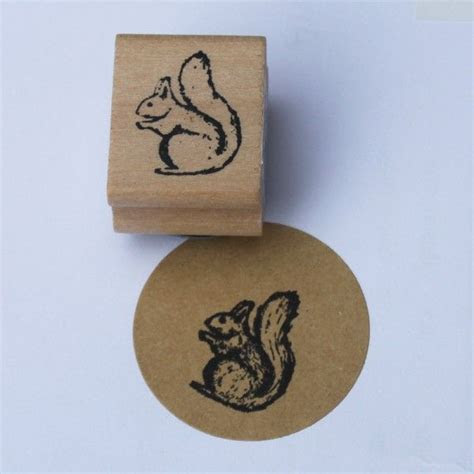 East Of India Mini Squirrel Rubber Stamp Craft / Card