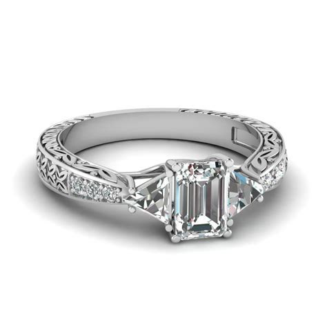 Antique Trillion And Emerald Cut Diamond Engagement Ring