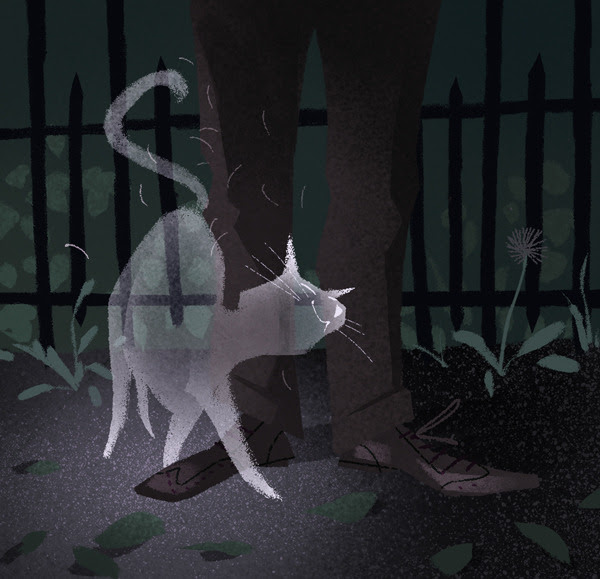 drawlloween #1: ghost cat wants to get your pants hairy, even in the afterlife
