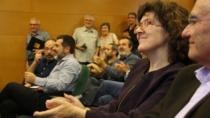 La candidata Liz Castro i en segon pla el fins ara president de l'ANC, Jordi Sànchez (ACN)