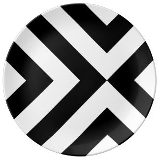 Black and White Chevrons Porcelain Plates